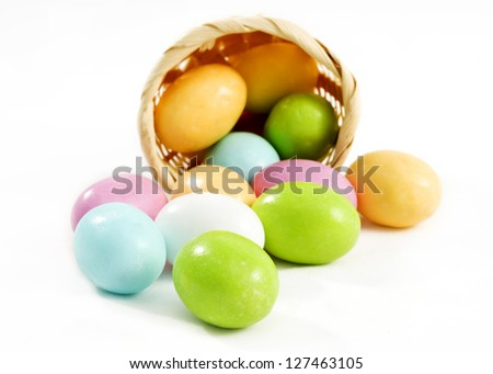 Pastel candy coated Easter chocolates in white background - stock photo