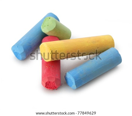 Pastel color chalks red blue yellow green isolated on white background - stock photo