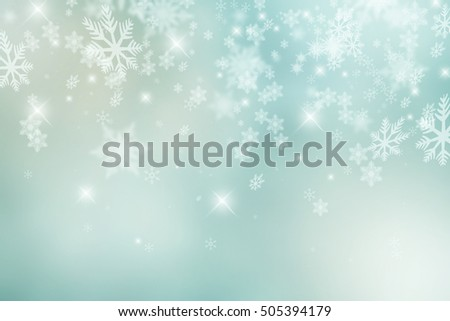 Pastel color falling snowflakes