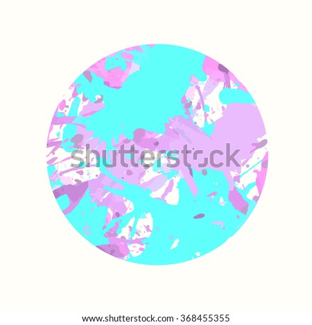 Pastel colored blue and pink artistic paint splashes in a circle. - stock photo