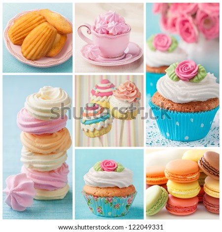 Pastel colored cupcakes and meringue collage - stock photo