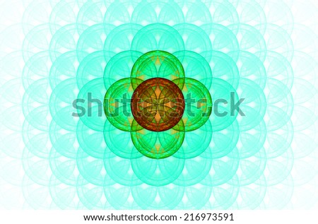 Pastel colored cyan abstract fractal background with a detailed decorative flower of life pattern spreading from the center which is in green and orange colors - stock photo