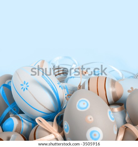 Pastel colored easter eggs. - stock photo