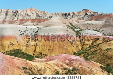Pastel colored eroded hills in the Badlands, South Dakota. - stock photo