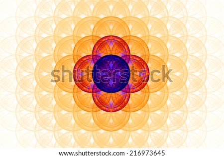Pastel colored orange abstract fractal background with a detailed decorative flower of life pattern spreading from the center which is in red and purple colors - stock photo