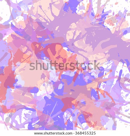 Pastel colored purple and pink artistic paint splashes, square format. - stock photo