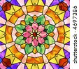 pastel colored stained glass kaleidoscope - stock photo