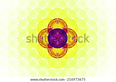 Pastel colored yellow abstract fractal background with a detailed decorative flower of life pattern spreading from the center which is in red and purple colors - stock photo