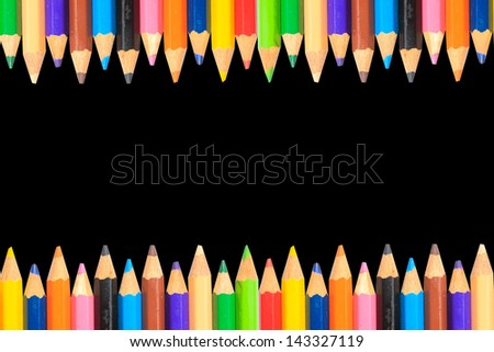 pastel colorful pencil on white color paper background - stock photo