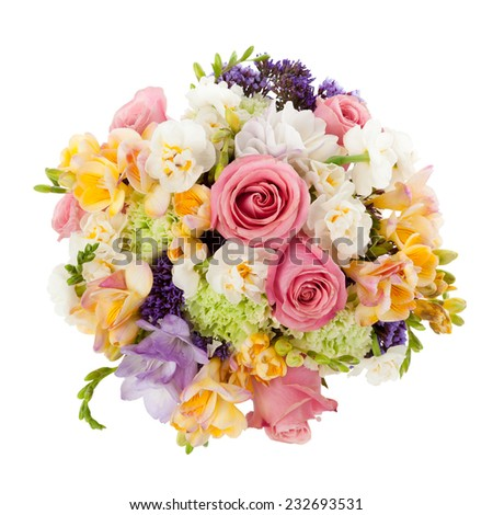 Pastel colors wedding bouquet made of Roses, Freesia, Carnation and Limonium flowers seen from above. - stock photo