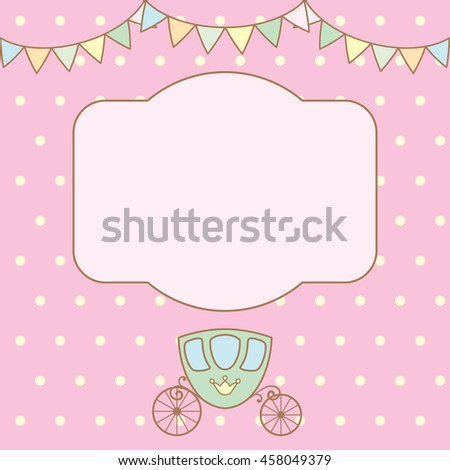 Pastel colour retro polka dot background with frame for text or photo, multicolored buntings garlands and carriage.  Raster copy illustration. - stock photo