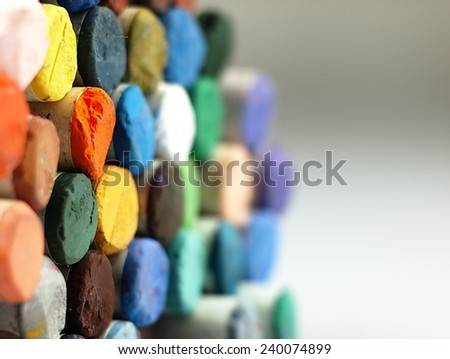 Pastel crayons. The visible spectrum of colors. Arranged in a block.                                                                                                      - stock photo