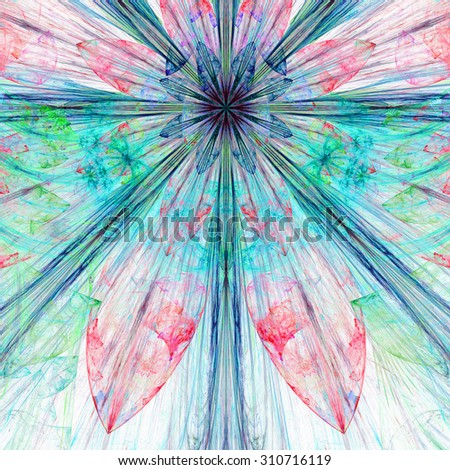 Pastel cyan,blue,purple,pink exploding flower/star fractal background with a detailed decorative pattern, all in high resolution. - stock photo