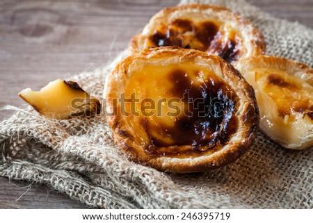 Pastel de nata, portuguese traditional creamy pastry - stock photo