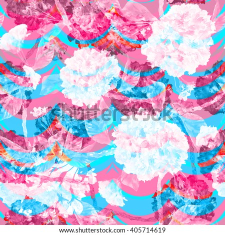 Pastel floral pattern with effect soft focus and translucent. Flowers branches on a geometric background seamless pattern. Watercolor painting backdrop. - stock photo