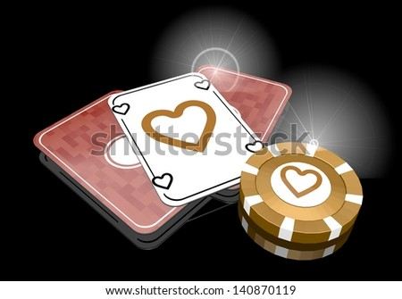 Pastel gray  exclusive partnership 3d graphic with loving heart icon  on poker cards - stock photo