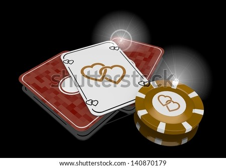 Pastel gray  glaring casino 3d graphic with glaring two hearts sign  on poker cards - stock photo