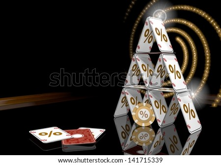 Pastel gray  glaring  3d graphic with glaring percent icon  on the casino table