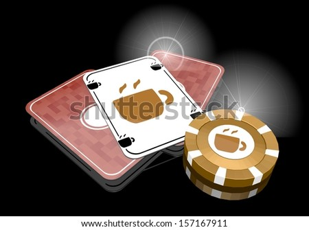 Pastel gray  golden risky 3d graphic with posh coffee icon  on poker cards - stock photo