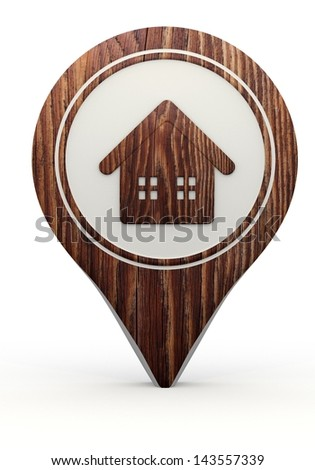 Pastel gray  little marker 3d graphic with funny house sign on a set of wooden  markers - stock photo