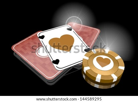 Pastel gray  loving risky 3d graphic with posh heart icon  on poker cards - stock photo