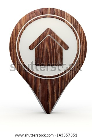 Pastel gray  simple map 3d graphic with sustainable building sign on a set of wooden  markers - stock photo
