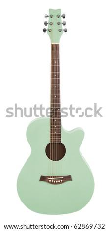 Pastel Green Acoustic Cutaway Girlie Guitar - stock photo