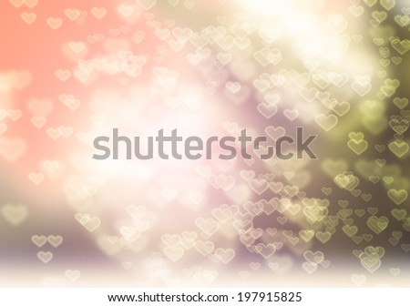 Pastel Heart Bokeh Abstract background - stock photo