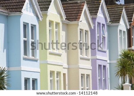 Pastel houses - stock photo
