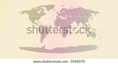 pastel-hued world map - stock photo
