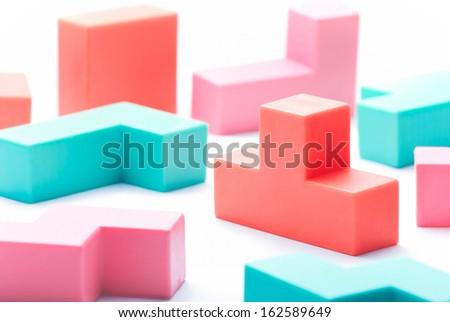 Pastel Isolate Toy Blocks - stock photo