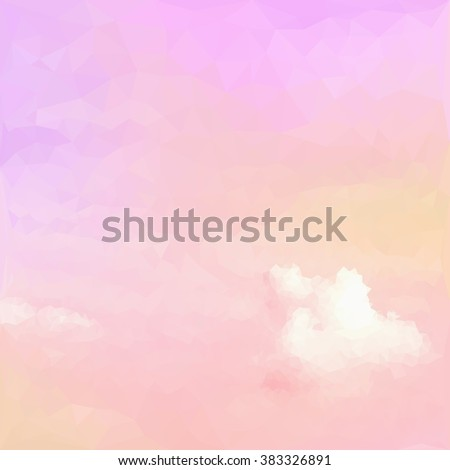Pastel on clouds, low poly style - stock photo