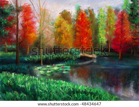 Pastel Painting - Autumn with color (Original Paper Size: B4) - stock photo