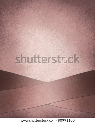 pastel pink background with creative abstract crossed maroon ribbons on border of frame with vintage grunge texture and old faded paper illustration with copy space for valentine's day or Easter sign - stock photo