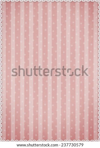 Pastel pink background with stripes and polka dots with  white border - stock photo