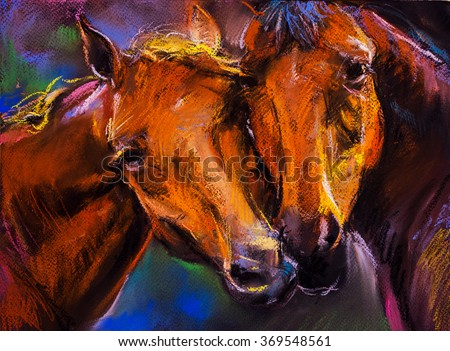 Pastel portrait of a couple horses on a cardboard. Modern art - stock photo