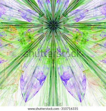 Pastel purple,green,yellow exploding flower/star fractal background with a detailed decorative pattern, all in high resolution. - stock photo