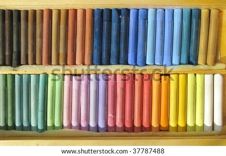 pastel set of colorful chalks for painting