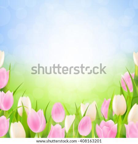 Pastel Spring Tulips Border  - stock photo