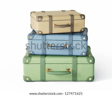 pastel suitcase isolated on a white background - stock photo