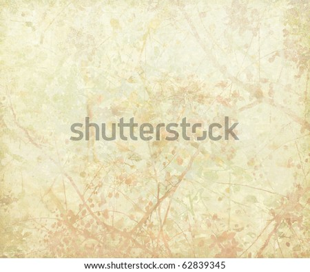 Pastel Tangled Blossom Art on Paper Background - stock photo