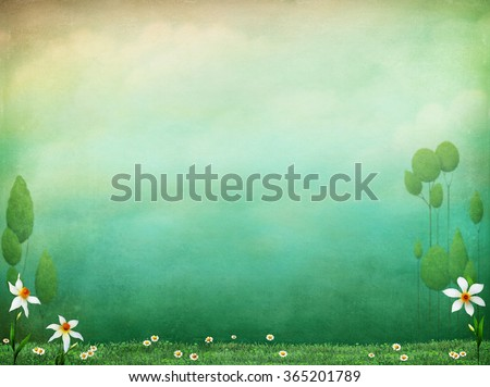 Pastel textured background with flowers and green grass - stock photo