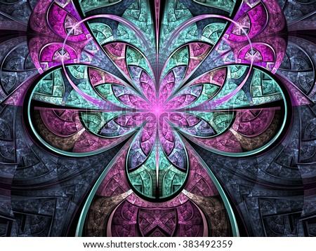 Pastel tone fractal flower, digital artwork for creative graphic design - stock photo