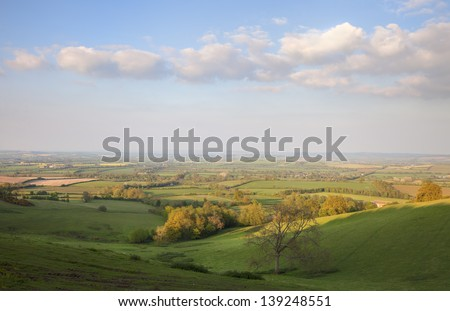 Pastoral countryside in Spring, England - stock photo