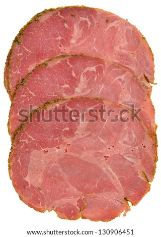 Pastrami slices showing meat texture. Isolated on white. - stock photo