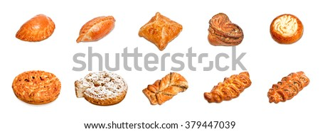 Pastries. A set of ten images isolated on white background. Pies, pastries, patty, puffs, biscuits - flour products. - stock photo