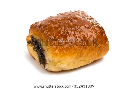 pastries filled with poppy and raisins on a white background - stock photo