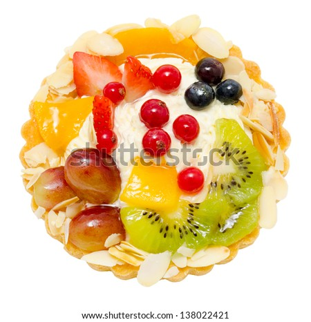 pastry basket filled with cream, fruit and berries, isolated - stock photo