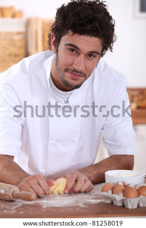 Pastry cook at work - stock photo