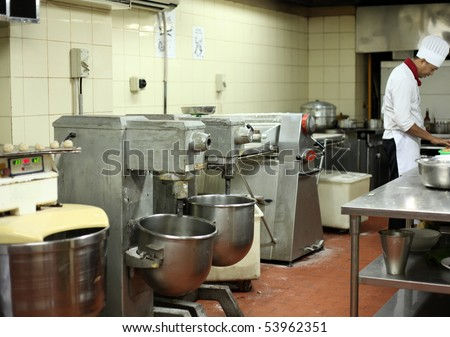 pastry kitchen with mixer machine